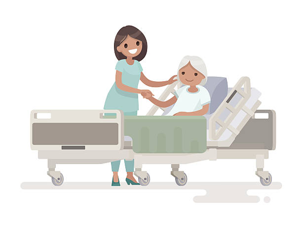 Hospitalization of the patient. A nurse taking care - ilustración de arte vectorial