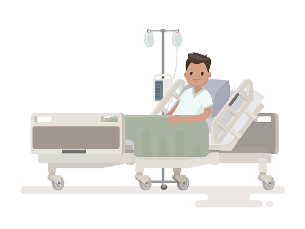 Hospitalization of the patient. A sick person Hospitalization of the patient. A sick person is in a medical bed on a drip. Vector illustration in a flat style hospital bed stock illustrations
