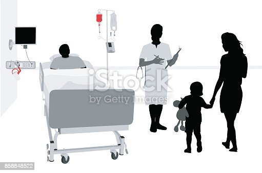 Hospital patient gets a visit from his wife and small child.  Silhouette vector illustration