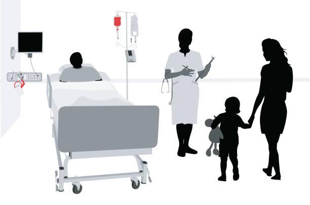 hospitalized child concerned mother - cancer patient stock illustrations