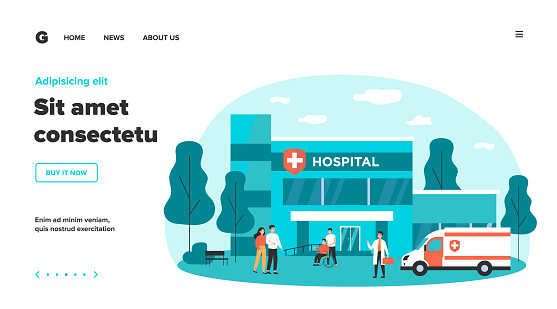 Hospitalized patients and doctors near hospital