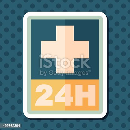 istock Hospitals 24 hours flat icon with long shadow 497662394