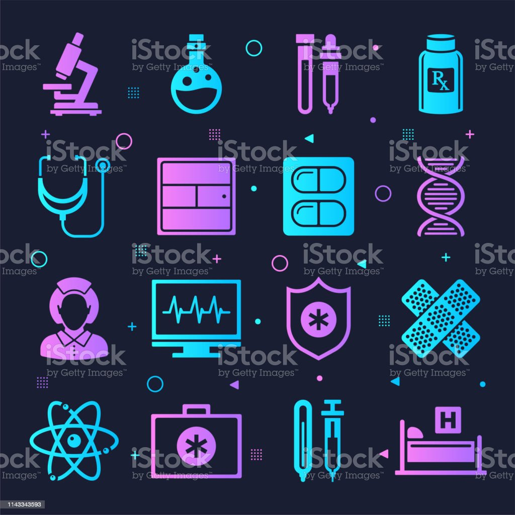 Hospitals and health systems neon style silhouette symbols on dark...