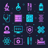 Hospitals and health systems neon style silhouette symbols on dark background. Vector icons set for infographics, mobile or web page designs.
