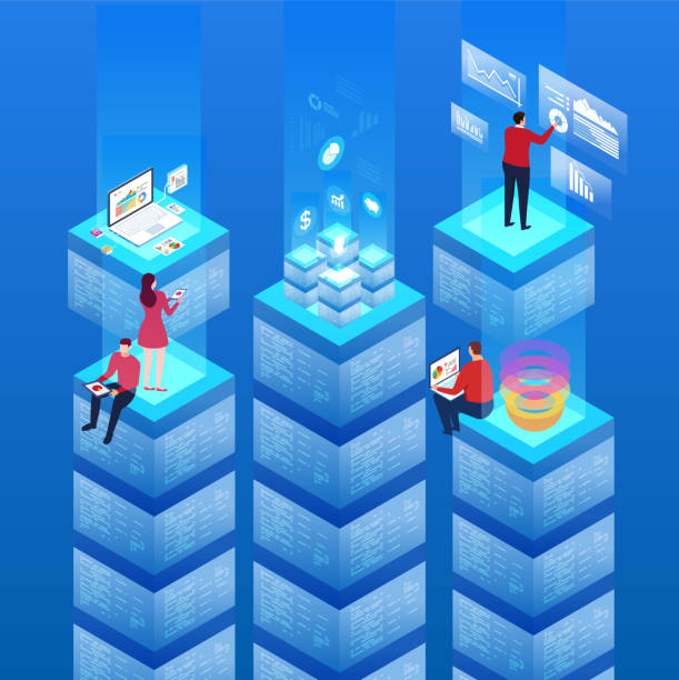 host data and technology - computer server room stock illustrations
