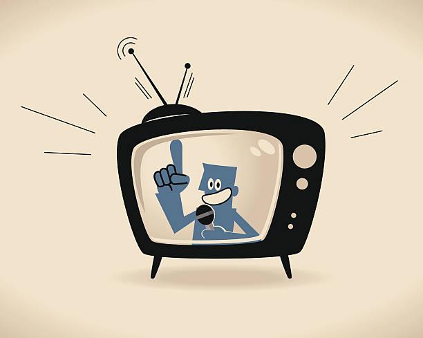 illustrations, cliparts, dessins animés et icônes de présentateur télé - tv