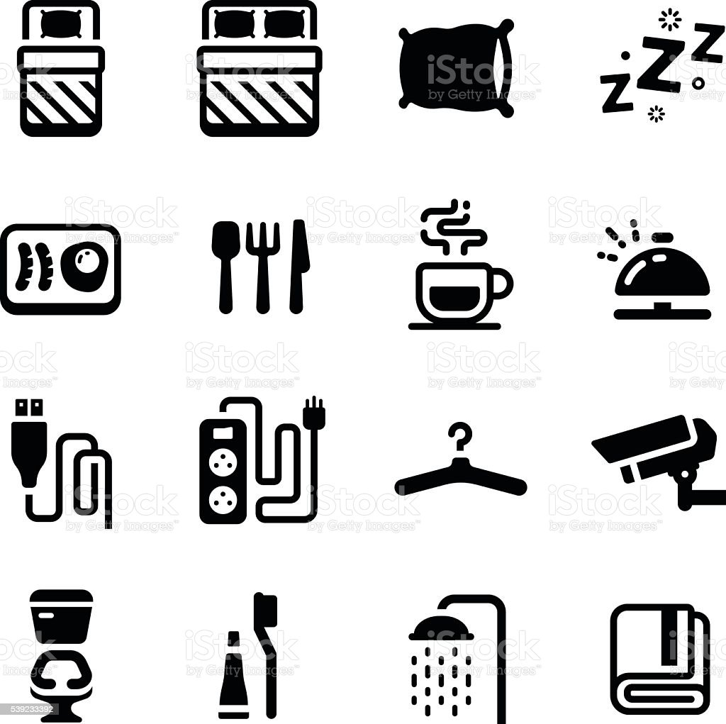 Hostel Facilities Amenities Vector Icon Set vector art illustration