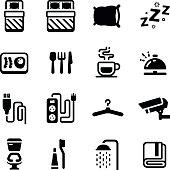 Hostel Facilities Amenities Vector Icon Set