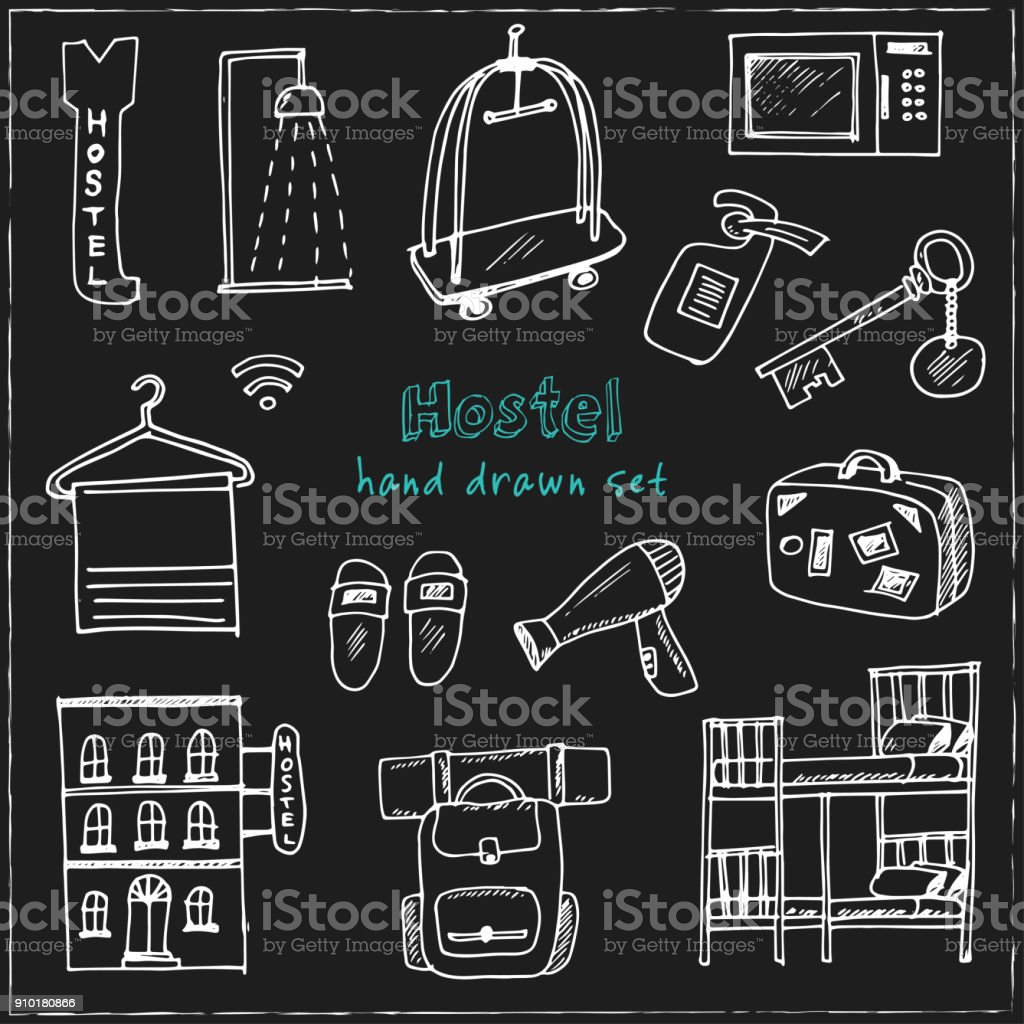 45a99d3cc6 Hostel. Hand drawn doodle set. Sketches. Vector illustration for design and  packages product - Illustration .