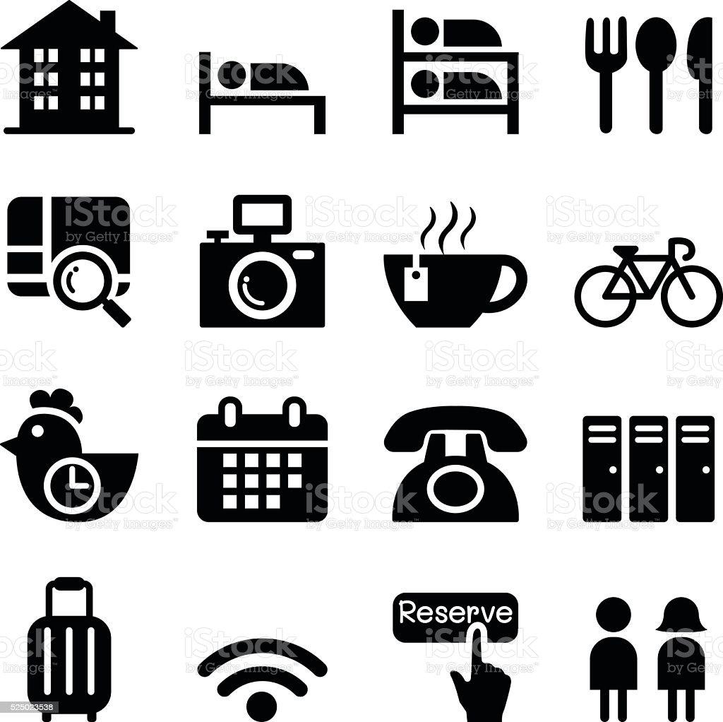 Hostel & Hotel icon set vector art illustration