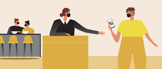 Hostess meets visitor, online booking at the bar, Flat vector stock illustration with QR code for booking or health passport for visiting the bar