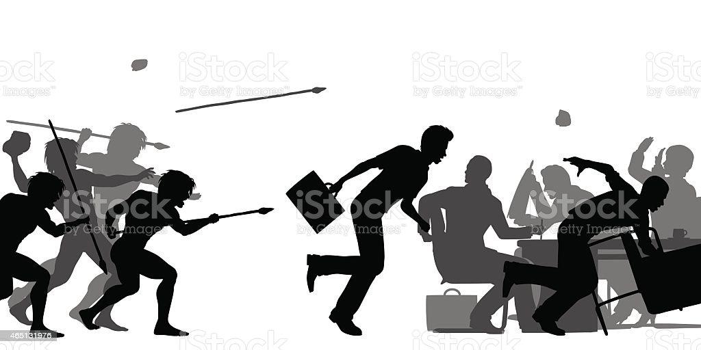 Hostile corporate takeover vector art illustration
