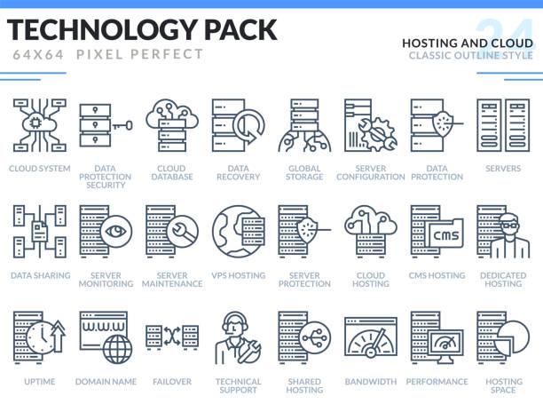 stockillustraties, clipart, cartoons en iconen met hosting en cloud icons set. technologie overzicht pak van de pictogrammen. pixel perfect dunne lijn vector iconen voor web design en website applicatie. - netwerkserver