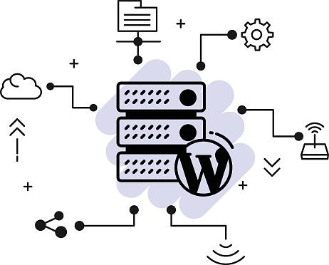 CMS Hosting Concept, WordPress Blog Optimized Server Vector Icon Design, Cloud computing and Web hosting services Symbol, Content Management Server stock illustration