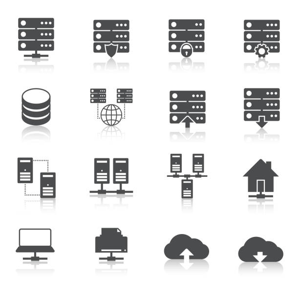 stockillustraties, clipart, cartoons en iconen met hosting icoon - netwerkserver