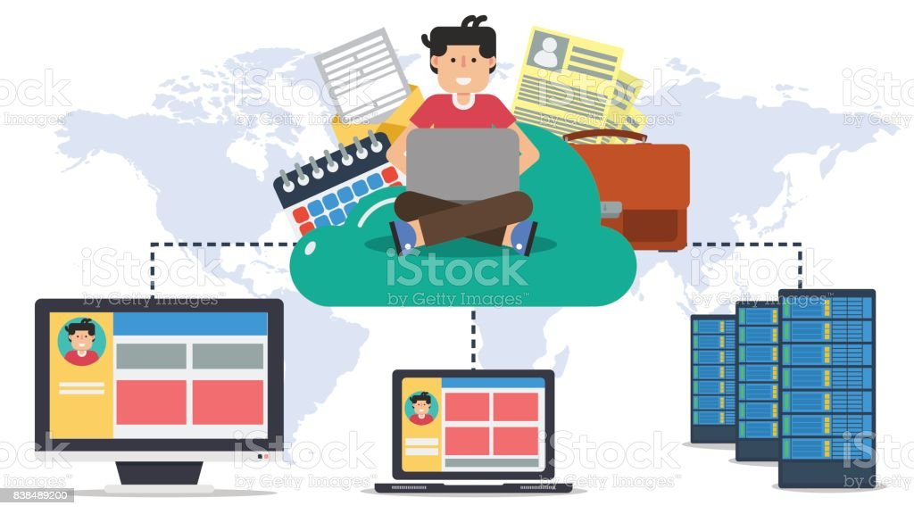 Hosting, online cloud with user and computers vector art illustration