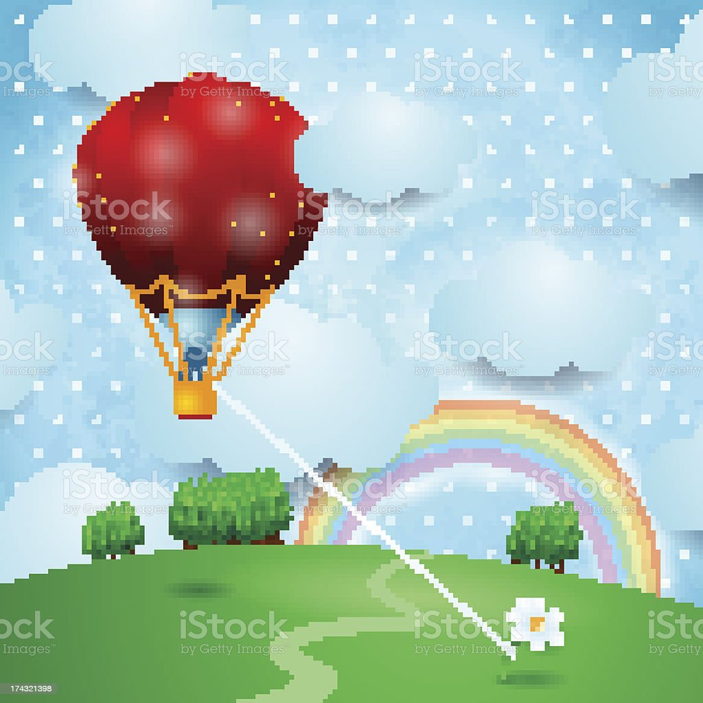Hot air ballon on fantasy landscape royalty-free stock vector art