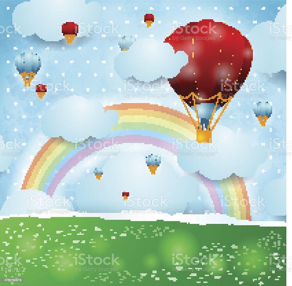 熱風風船のファンタジー背景に - おとぎ話のベクターアート素材や画像を