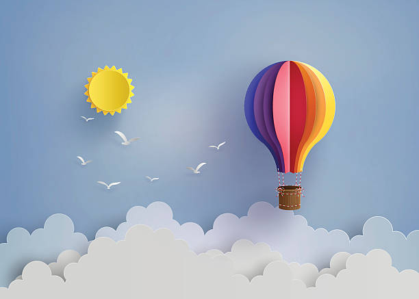 hot air balloon and cloud - hot air balloon stock illustrations