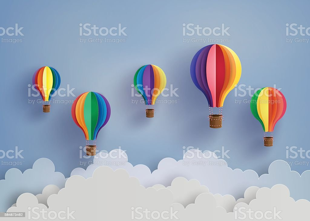 hot air balloon and cloud vector art illustration