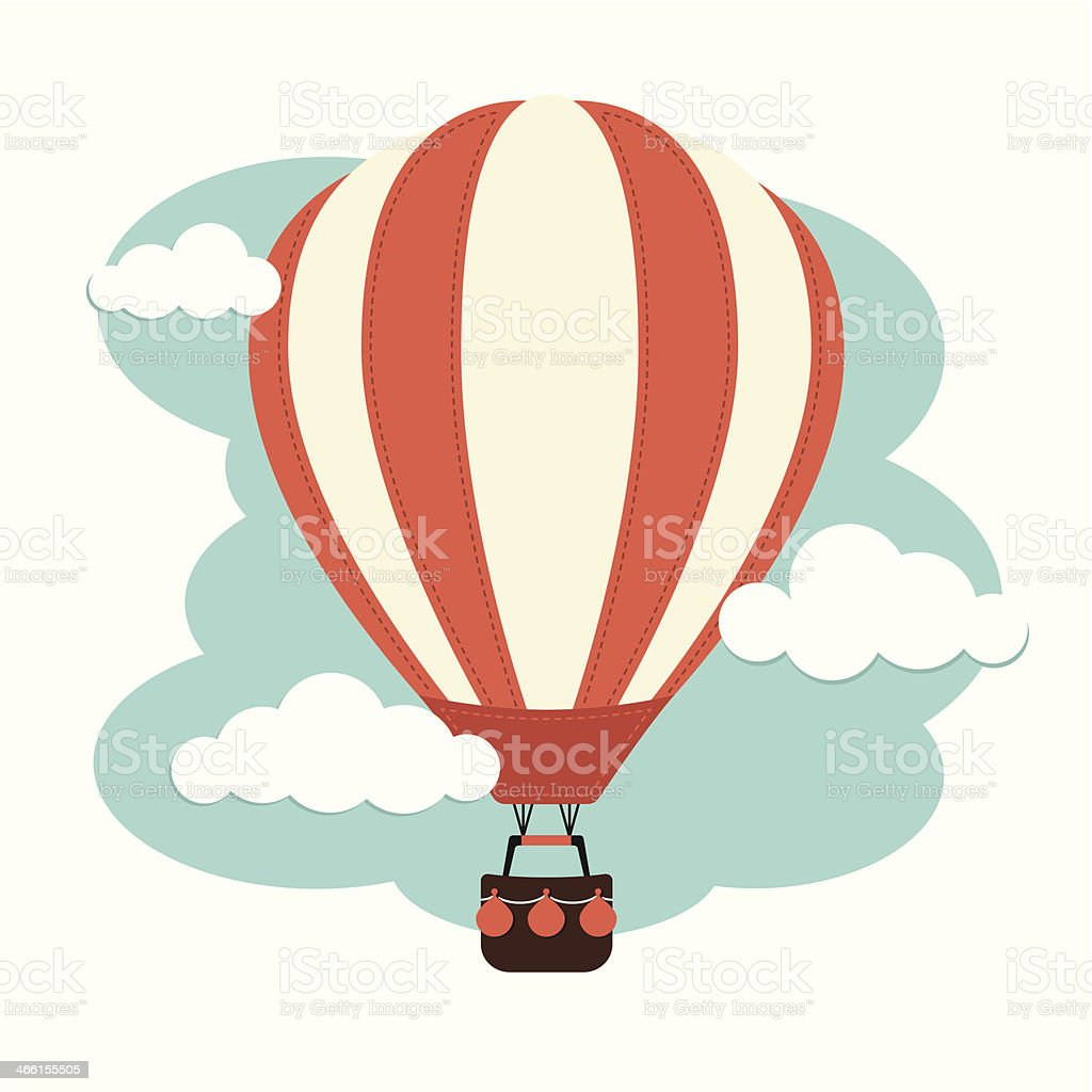 Hot Air Balloon and Clouds vector art illustration
