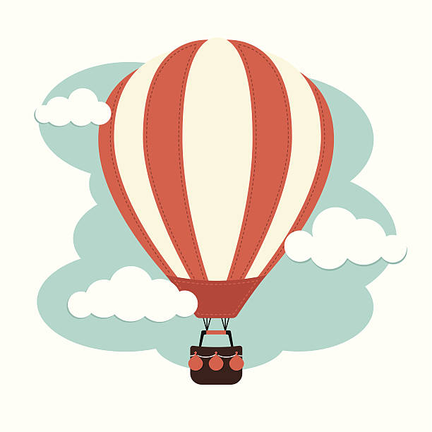 Hot Air Balloon and Clouds A Hot air balloon against a cloudy sky hot air balloon stock illustrations