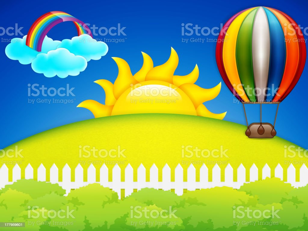 Hot air balloon and green grass meadow royalty-free stock vector art