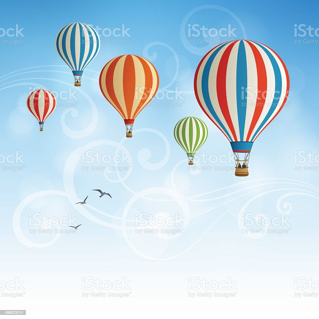Hot Air Balloon Background vector art illustration