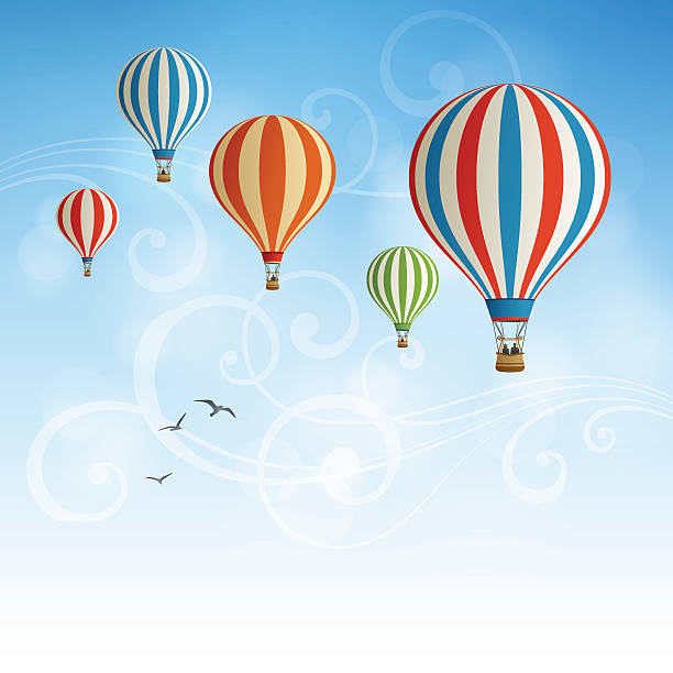 Hot Air Balloon Background Background with hot air balloons.Eps 10 file with transparencies.File is layered with global colors.Only gradients used.Hi res jpeg without text included.More works like this linked below. hot air balloon stock illustrations