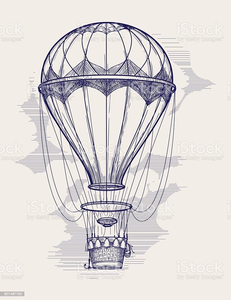 Hot air balloon ball pen sketch Lizenzfreies hot air balloon ball pen sketch stock vektor art und mehr bilder von alt