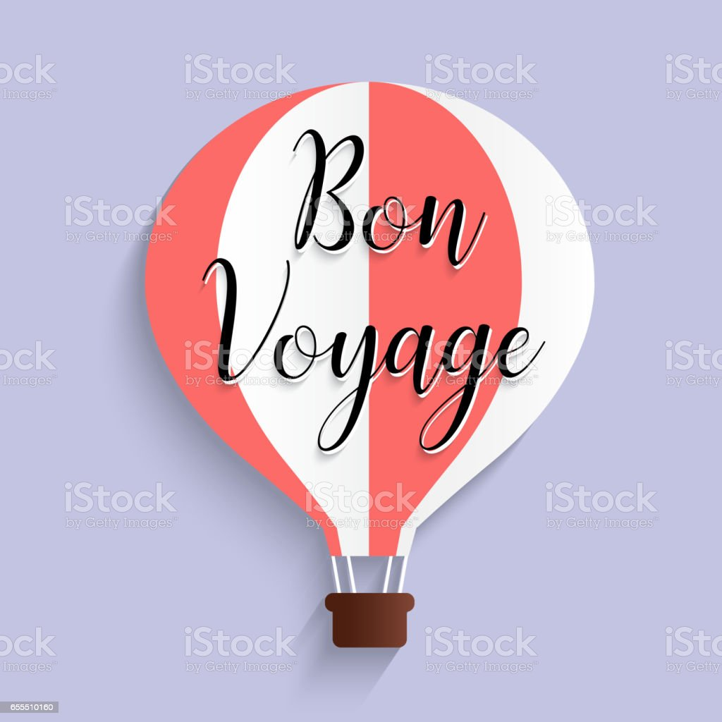 hot air balloon bon voyage calligraphy text flat design - Illustration vectorielle
