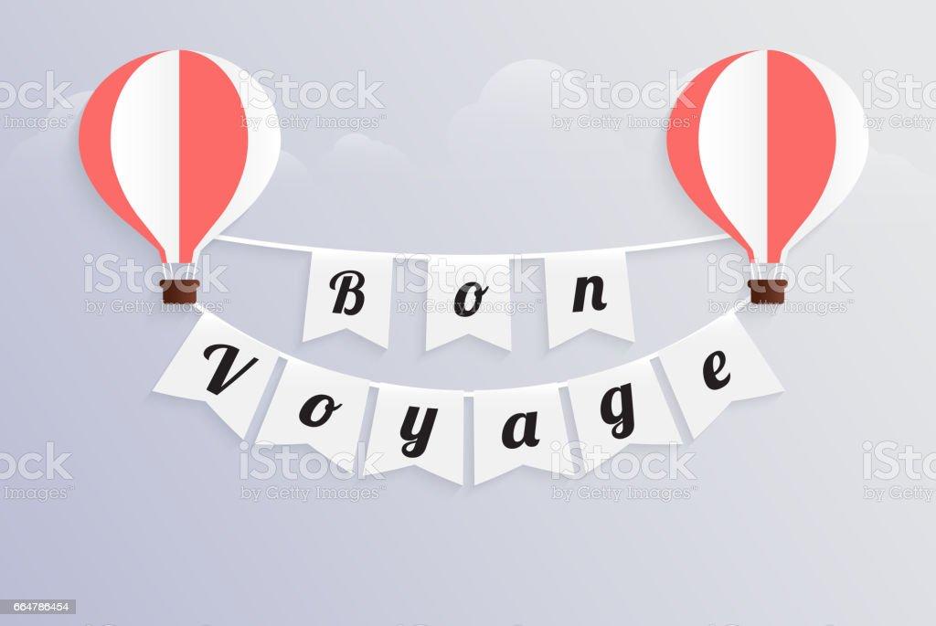 montgolfière texte de calligraphie bon voyage sur drapeau bunting - Illustration vectorielle
