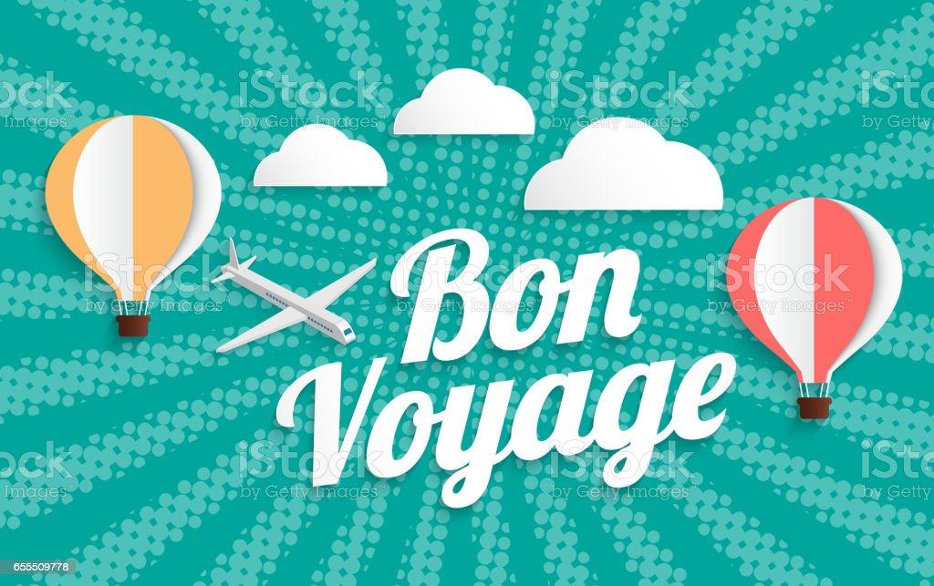montgolfière bon voyage sur fond de demi-teintes - Illustration vectorielle