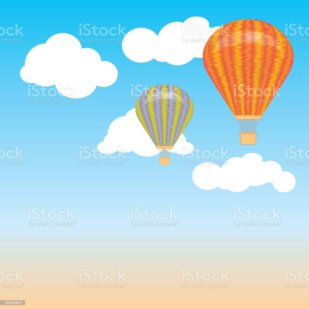Globo Aerostático De Aire Caliente Nubes Del Cielo Ilustración ...