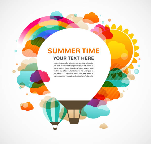 熱気球、カラフルな抽象的なベクトルの背景 - 特別な日点のイラスト素材/クリップアート素材/マンガ素材/アイコン素材