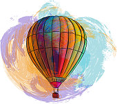Drawing of Hot air balloon. Elements are grouped.contains eps10 and high resolution jpeg.