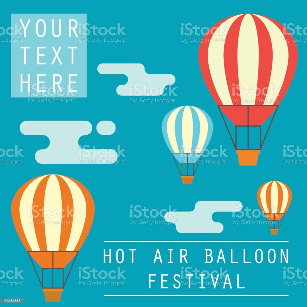 hot air balloon festival / fiesta banner / poster with text space for your slogan / tag line, vector illustration vector art illustration