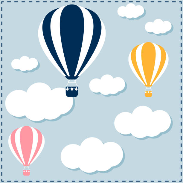 hot air balloon floating in the sky among the clouds. - hot air balloon stock illustrations
