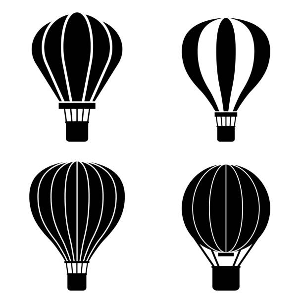hot air balloon icon, logo isolated on white background - hot air balloon stock illustrations