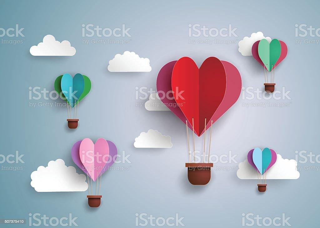 Balão de ar quente em forma de coração. - ilustração de arte em vetor