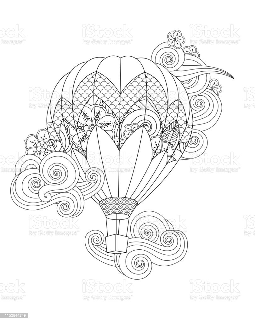 hot air balloon in doodle inspired doodle style isolated on white....