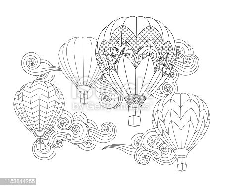 hot air balloon in doodle inspired doodle style isolated on white. Coloring book page for adult and older children.