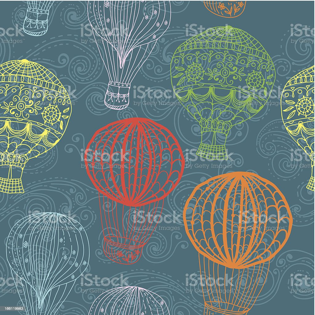Hot air balloon in sky, seamless background royalty-free stock vector art