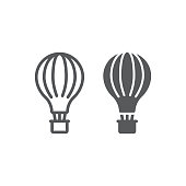 Hot air balloon line and glyph icon, airship and flight, aerostat sign, vector graphics, a linear pattern on a white background, eps 10.