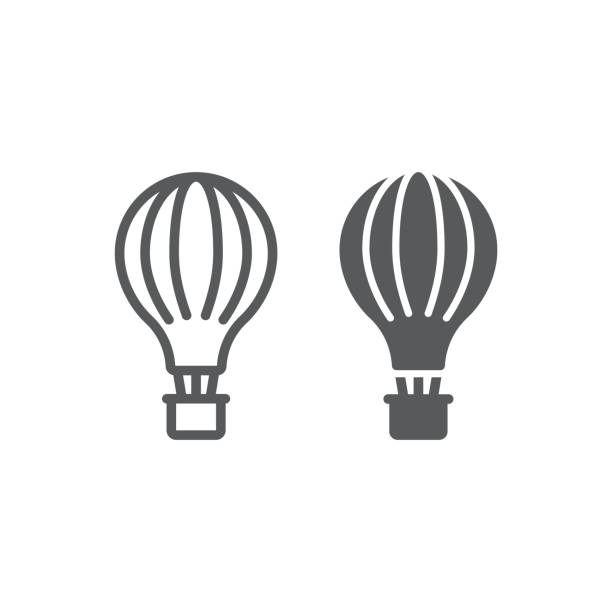Hot air balloon line and glyph icon, airship and flight, aerostat sign, vector graphics, a linear pattern on a white background. Hot air balloon line and glyph icon, airship and flight, aerostat sign, vector graphics, a linear pattern on a white background, eps 10. hot air balloon stock illustrations