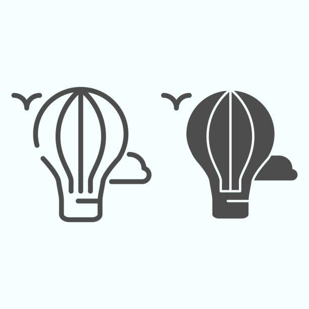 горячая линия воздушного шара и твердый значок. воздушный шар в лыжах с иллюстрациями птиц изолированы на белом. воздушный шар наброски сти - hot air balloon stock illustrations