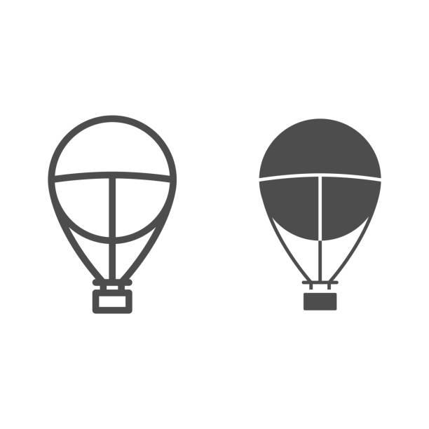 линия воздушного шара и твердый значок, концепция путешествия на воздушном шаре, знак aerostat на белом фоне, символ путешествия дирижабля в ст� - hot air balloon stock illustrations