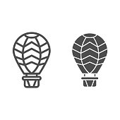 Hot air balloon line and solid icon, Balloons festival concept, Air transport for travel sign on white background, Balloon icon in outline style for mobile concept and web design. Vector graphics