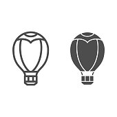 Hot air balloon line and solid icon, Balloons festival concept, Aerostat sign on white background, Balloon icon in outline style for mobile concept and web design. Vector graphics