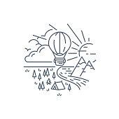 istock Hot Air Balloon Line Background Editable Stroke 1284737636